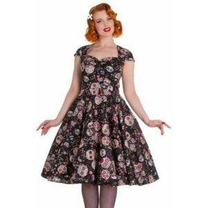 HELL BUNNY Sasha Pinup Dress L Sugarskulls